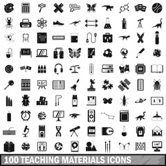 100 teaching materials icons set, simple style