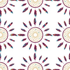 Dreamcatcher seamless pattern of the ornaments of feathers. Native American Indian Dreamcatcher, a traditional symbol. Feathers isolated on white background. Vector decorative elements of hippies.