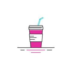Vector line style icon of fastfood - glass of soda.