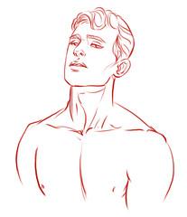 male art in line,sketch.
