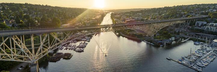 Aurora Bridge Sunset Panorama Aerial View in Seattle, Washington