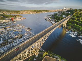 Stylized Aerial View of Seattle Bridge on Sunny Summer Day