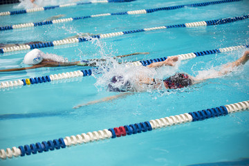 Young swimmers during a swim meet