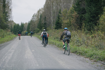 People on a cycling marathon, Russia, Zarinsk