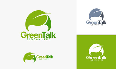 Green Talk logo, Nature Discuss logo designs vector,