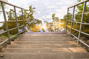 staircase down to the pond. background, nature.