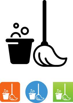 Vector Mop And Bucket Icon