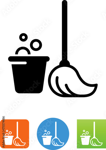 Vector Mop And Bucket Icon Stock Image And Royalty Free Vector