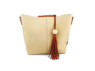 Beige woman handbag isolated on white background