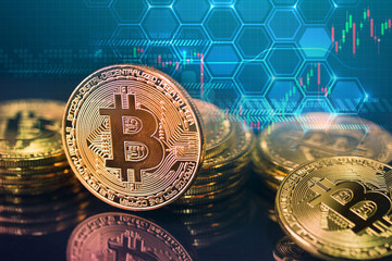 Bitcoins and New Virtual money concept.shopping carts full of Gold bitcoins with Candle stick graph chart and digital background.Golden coin with icon letter B.Mining or blockchain technology