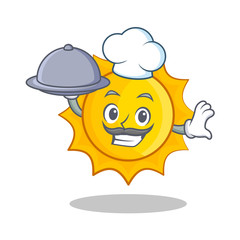Chef with foof cute sun character cartoon