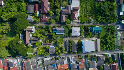 Aerial city view from flying drone at Nonthaburi, Thailand. top view of the city