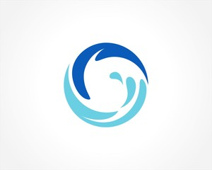 round circle water splash logo