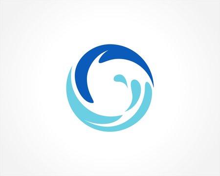 round circle water splash logo