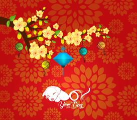 Chinese New Year  2018. Plum blossom background