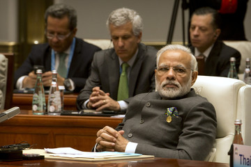 Indian Prime Minister Narendra Modi listens to a speech during the Dialogue of Emerging Market and Developing Countries in Xiamen in southeastern ChinaÕs Fujian Province