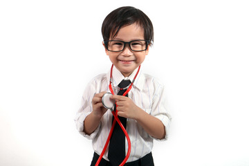 cute asian kid doctor on isolated white background