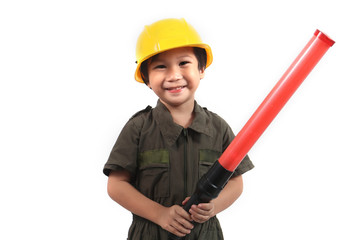 traffic kids with baton on isolated white background