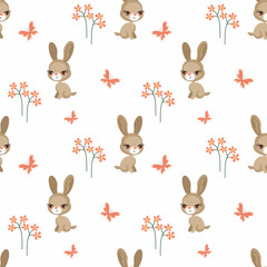 Vector colorful seamless pattern with the image of farm animals in cartoon style.