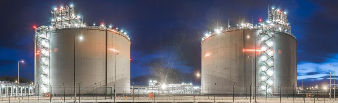 LNG gas storage tanks at the gas terminal in Swinoujscie, Poland