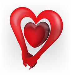 Hands unity heart love shape logo vector
