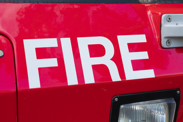 Close-up view of the word fire on a fire brigade
