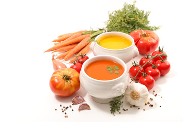 Fototapete - bowl of soup and ingredients