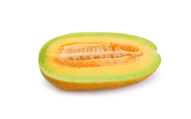 Cantaloupe melon cut in half looking healthy and delicious, isolated on white.