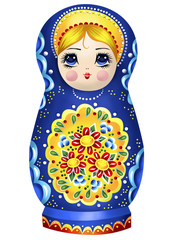 Blue Nesting Doll Illustration with Floral Details