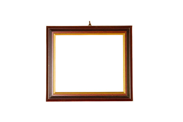 blank vintage retro photo frame isolated on white background. Clipping path