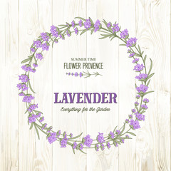 The lavender circle frame with cute flowers and text on the wooden background. Lavender blossom flowers for marriage invitation card. Frame with lavender herbs. Vector illustration.