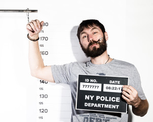 bearded man in handcuffs with sigarette, Criminal Mug Shots