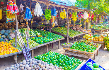 Fruits and vegetables in roadside stall