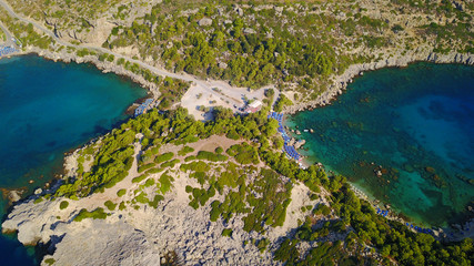August 2017: Aerial drone photo of famous beach of Ladiko near iconic Anthony Quinn Bay, Rodos island, Aegean, Dodecanese, Greece