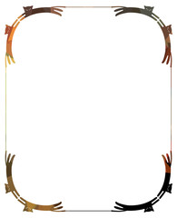 Vertical frame with cats silhouettes. Vector clip art.