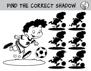 Football player running with the ball. Find the correct shadow. Black and white educational game for children. Cartoon vector illustration