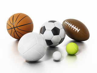 Sports balls isolated on white background. 3D illustration