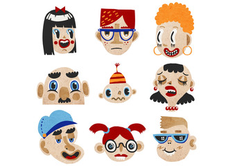 Cartoonish Portrait with Nine Family Members