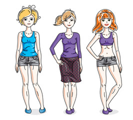 Attractive young adult girls standing wearing casual clothes. Vector people illustrations set.