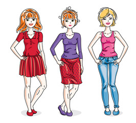 Attractive young adult girls female group standing wearing fashionable casual clothes. Vector set of beautiful people illustrations. Fashion and lifestyle theme cartoons.