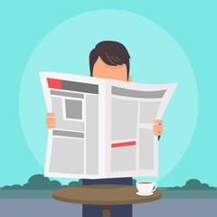 Man Reading Newspaper Flat Vector Concept