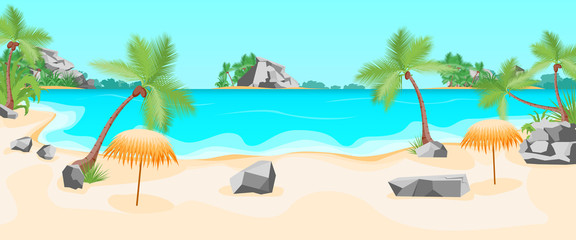 Cartoon Tropical Beach Summer Landscape Background. Vector