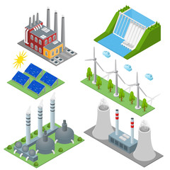 Renewable Resources and Traditional Energy Power Station Set Isometric View. Vector