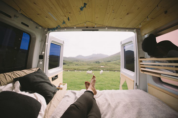 Camper view on a meadow in Wales