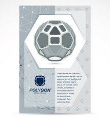 Communication technologies business corporative flyer template. Graphic vector illustration. Abstract 3d polygonal grayscale wireframe object, geometric low poly design element
