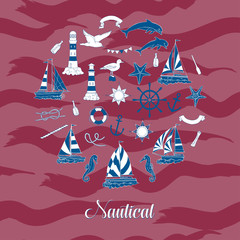 Nautical background hand drawn elements