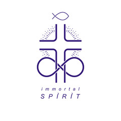 Immortal God conceptual symbol combined with infinity loop sign and Christian Cross, vector creative logo.
