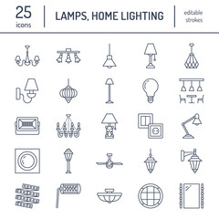 Light fixture, lamps flat line icons. Home and outdoor lighting equipment - chandelier, wall sconce, desk lamp, light bulb, power socket. Vector illustration, signs for electric, interior store.