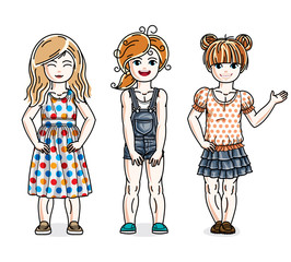Beautiful happy little girls posing wearing fashionable casual clothes. Vector kids illustrations set. Childhood and family lifestyle cartoons.
