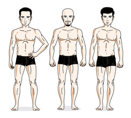 Handsome men standing in black underwear. Vector set of beautiful people illustrations.